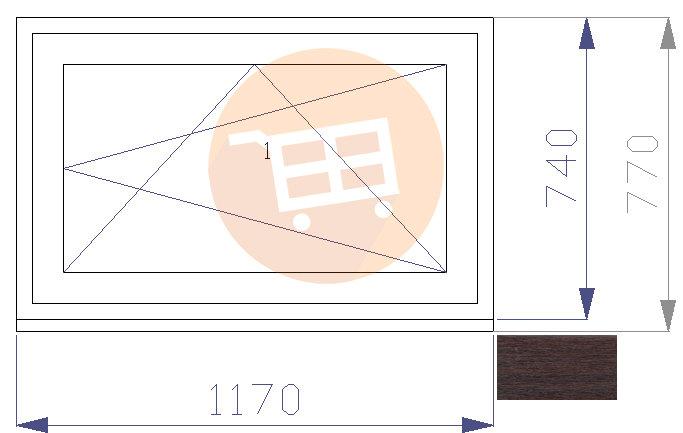 Tumšs ozols / Balts - Verams - Labais - Nr.26 1170x770 Līvānu māju logs
