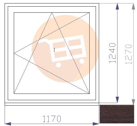 Tumšs ozols / Balts - Verams - Labais - Nr.27 1170x1270 Līvānu māju logs